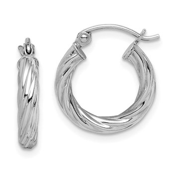 Sterling Silver Rhodium-plated 2.7x15mm Twisted Hoop Earrings