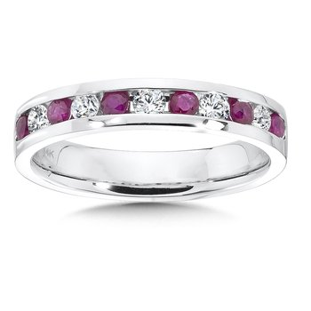 Diamond and Ruby Stackable Ring in 14k White Gold