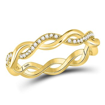10kt Yellow Gold Womens Round Diamond Fashion Braided Band Ring 1/10 Cttw