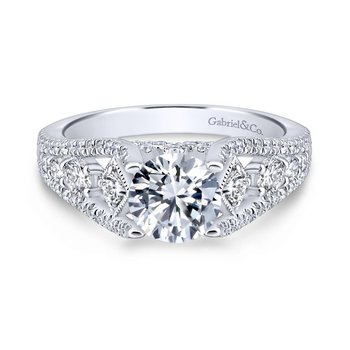 Round Straight Engagement Ring
