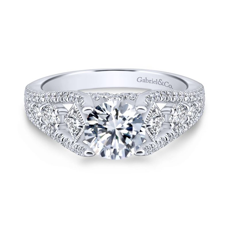 Gabriel & Co. - Bridal 14K White Gold Round Diamond Engagement Ring