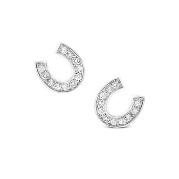 Diamond Horseshoe Earrings in 14K White Gold with 22 Diamonds Weighing .24 ct tw