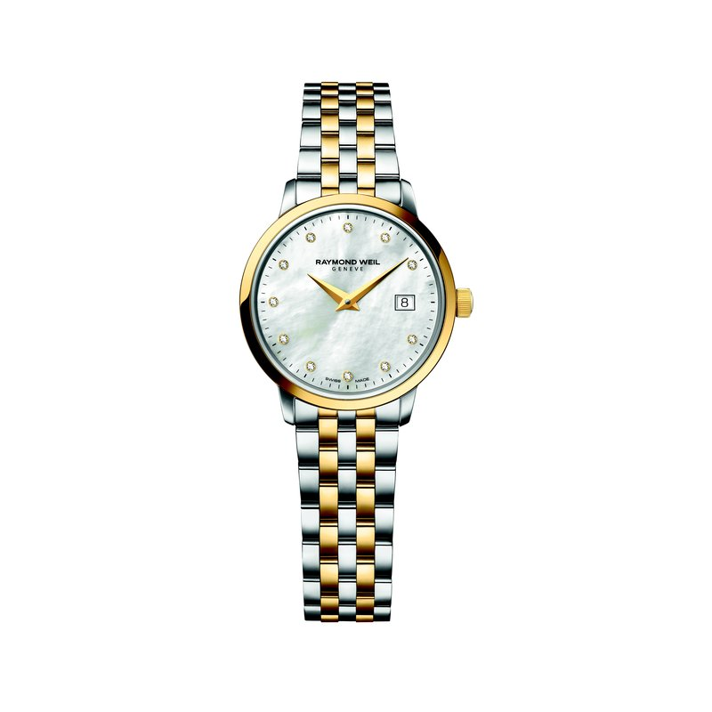 Raymond Weil Ladies Quartz Date Watch, 29 mm Two-tone 11 diamonds