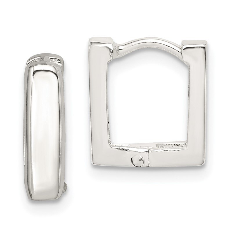 Quality Gold Sterling Silver Square Hinged Hoop Earrings