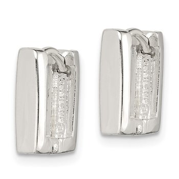 Sterling Silver Square Hinged Hoop Earrings