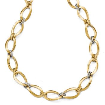 Leslie's 14k Two-tone Polished D/C with 1in ext. Necklace