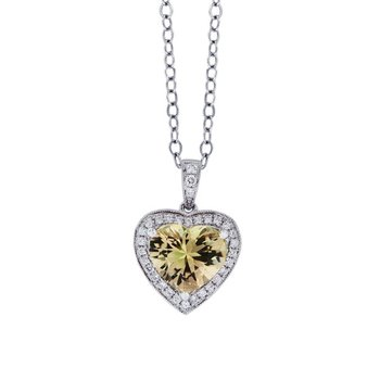 Yellow Tourmaline & Diamond Pendant
