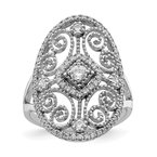 Quality Gold Sterling Silver Rhodium-plated CZ Filigree Oval Ring