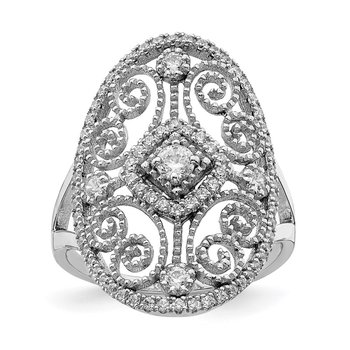 Sterling Silver Rhodium-plated CZ Filigree Ring