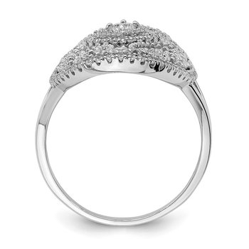 Sterling Silver Rhodium-plated CZ Filigree Oval Ring