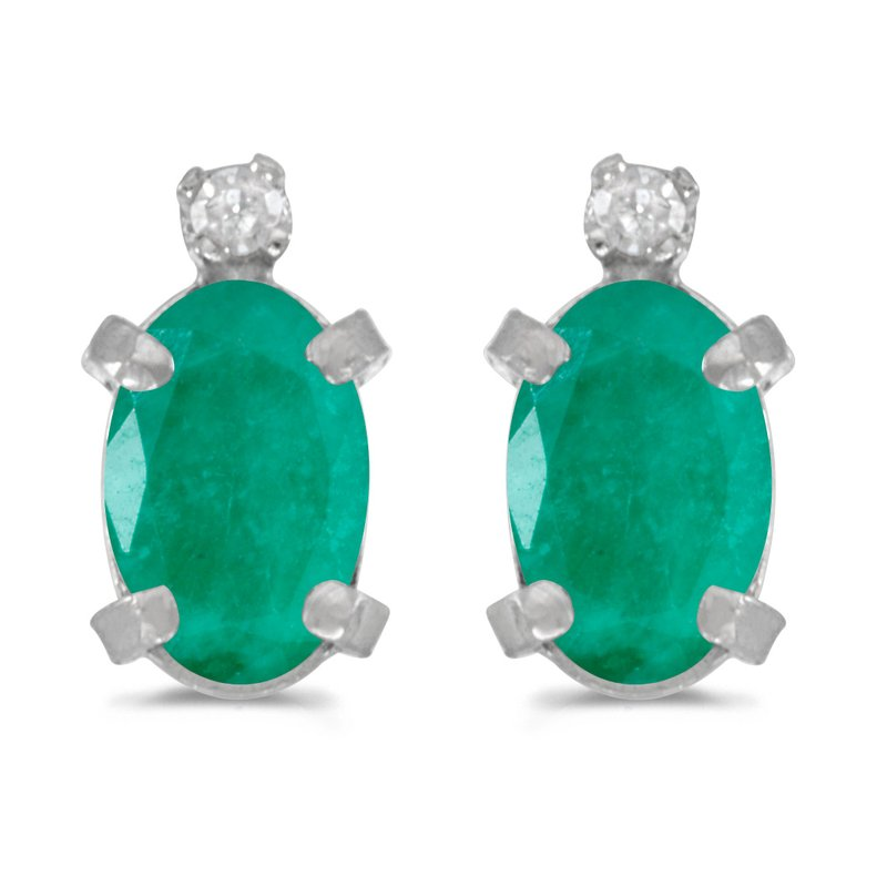 Color Merchants Sterling Silver Oval Emerald and Diamond Earrings