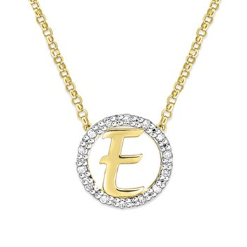 "Gold and Diamond Mini Halo ""E"" Initial Necklace"