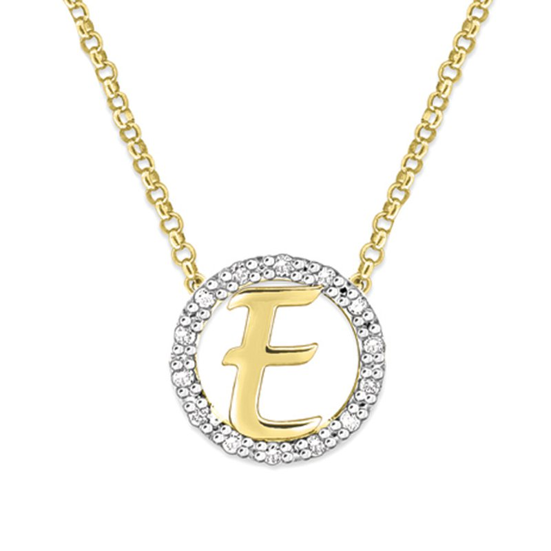 "KC Designs Gold and Diamond Mini Halo ""E"" Initial Necklace"