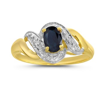 10k Yellow Gold Oval Sapphire And Diamond Swirl Ring
