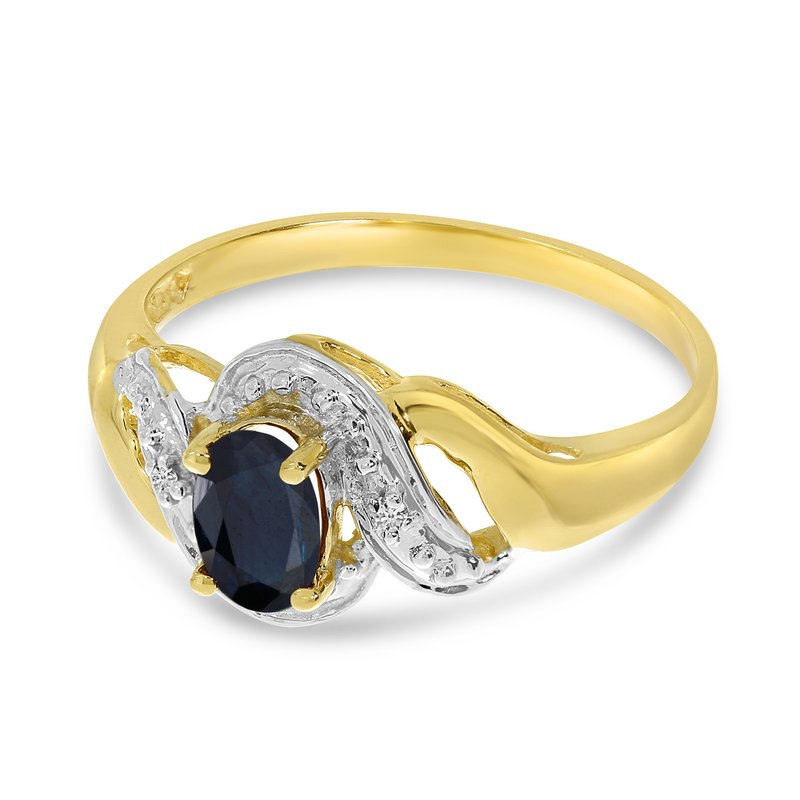 Color Merchants 10k Yellow Gold Oval Sapphire And Diamond Swirl Ring