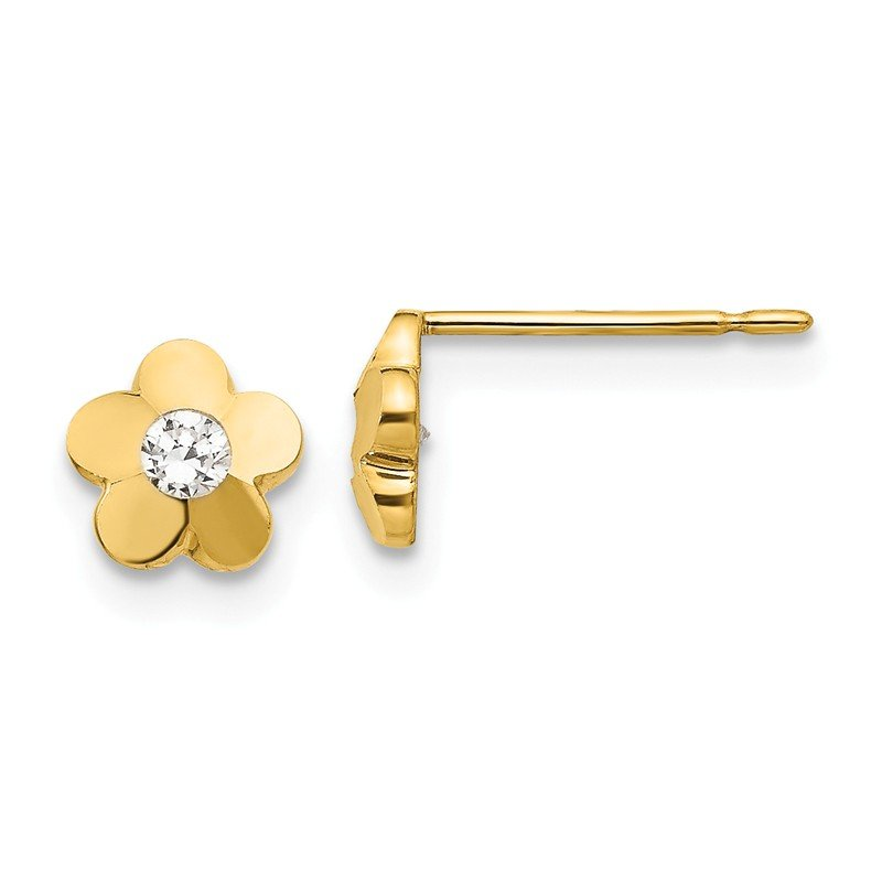 Quality Gold 14k Madi K CZ D/C Children's Flower Post Earrings