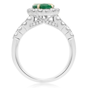 Tri-Colored Oval Emerald Ring