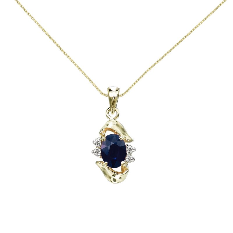 Color Merchants 14k Yellow Gold Sapphire And Diamond Pendant