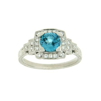 14k White Gold Ring with Zircon Blue & Diamond