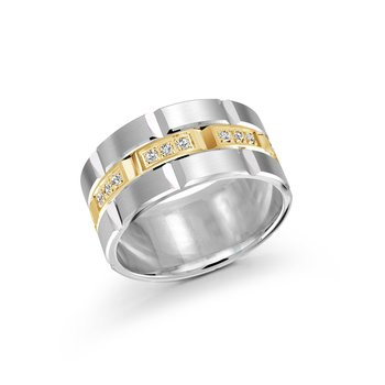 11mm two-tone white and yellow gold brick motif band, embelished with 24X0.015CT diamonds