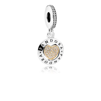 Pandora Signature Heart Dangle Charm, Clear Cz