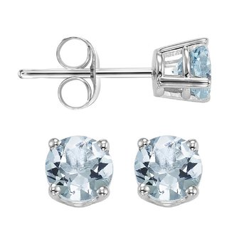 Four Prong Aquamarine Studs in 14K White Gold (4.5 MM)