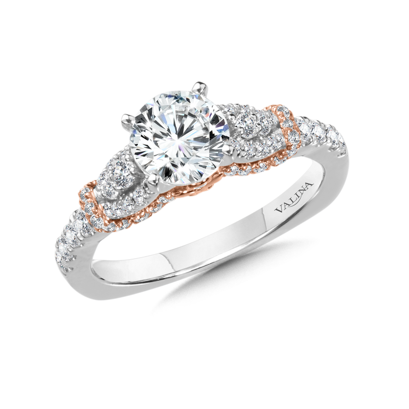Valina Diamond Engagement Ring Mounting in 14K White and Rose Gold (0.53 ct. tw.)