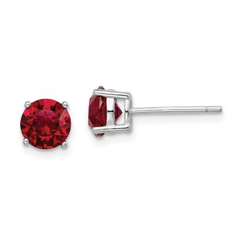 Sterling Silver Rhod-pltd Red Swar Crystl Birthstone Earrings