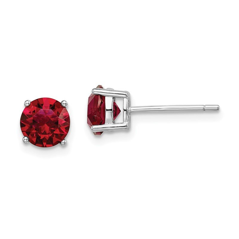 Quality Gold Sterling Silver Rhod-pltd Red Swar Crystl Birthstone Earrings