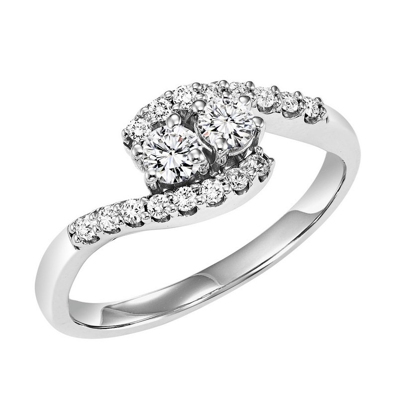 Twogether 14K Diamond Two Stone Ring 3/4 ctw