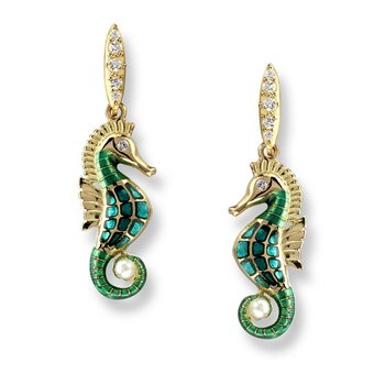 Blue Seahorse Stud Earrings.18K -Diamonds and Akoya Pearl - Plique-a-Jour