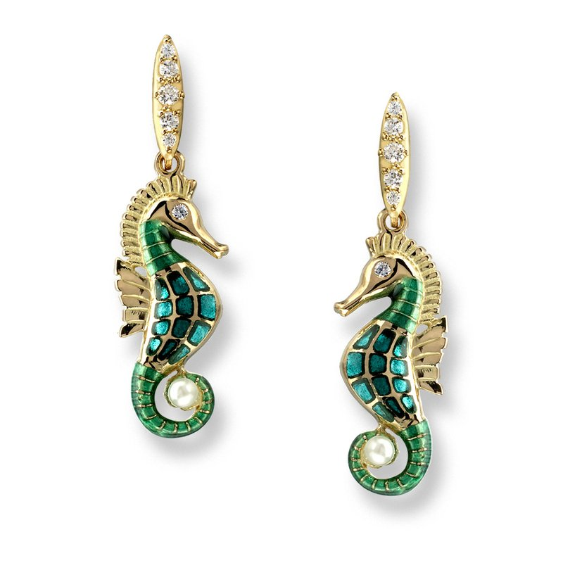 Nicole Barr Designs Blue Seahorse Stud Earrings.18K -Diamonds and Akoya Pearl - Plique-a-Jour