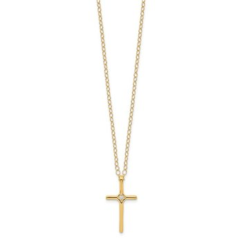 14k Madi K .01ct Diamond Cross Necklace