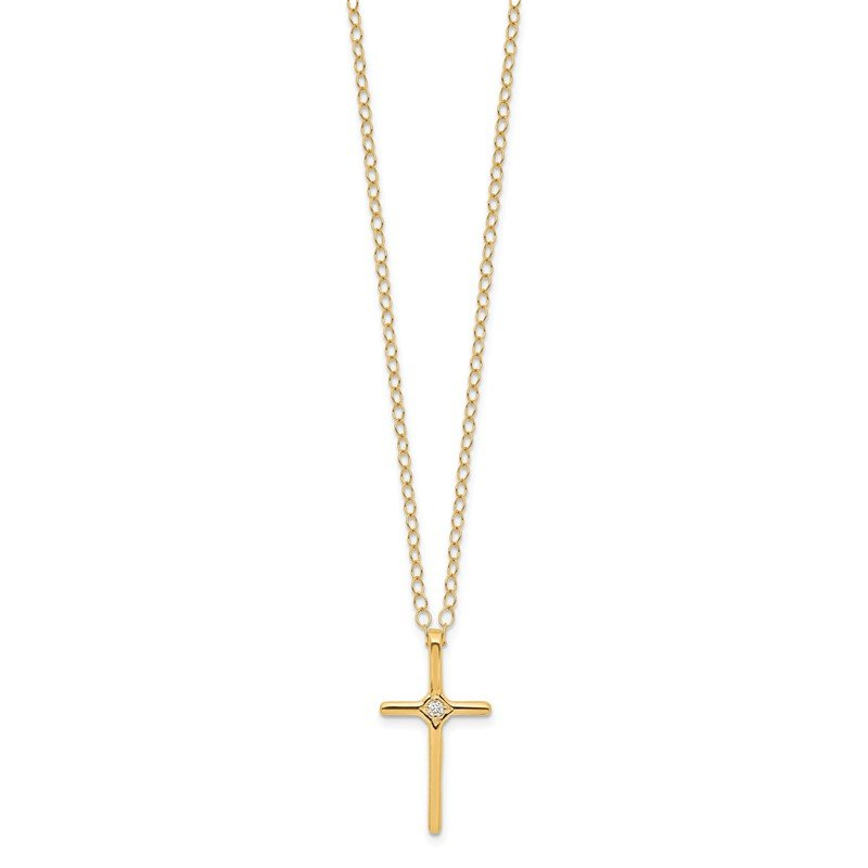 Quality Gold 14k Madi K .01ct Diamond Cross Necklace