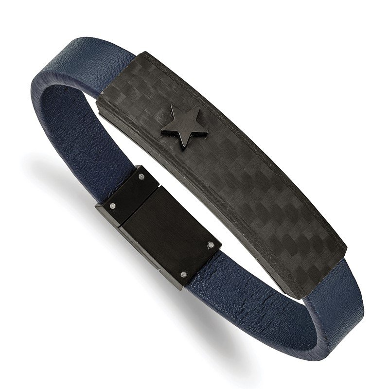 Chisel Stainless Steel Polished Black IP Carbon Fiber Blue Faux Leather Bracelet