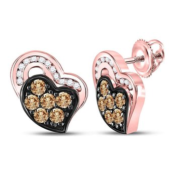 10kt Rose Gold Womens Round Brown Color Enhanced Diamond Heart Stud Earrings 3/8 Cttw