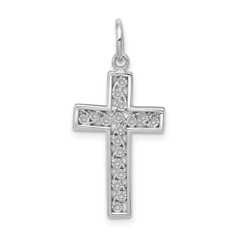 Quality Gold 14k White Gold Cross Charm