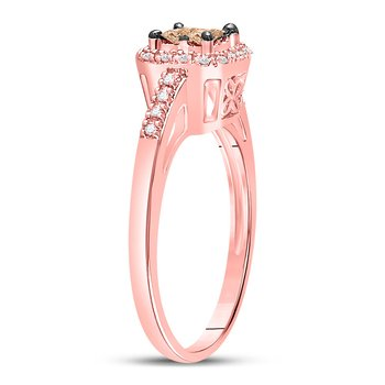 10kt Rose Gold Womens Princess Brown Color Enhanced Diamond Fashion Ring 1/4 Cttw