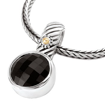 18K/SILVER WITH FACETED BLACK ONYX ENHANCER 12MM