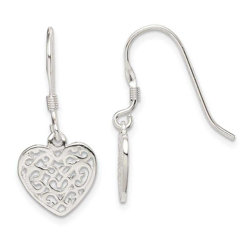 Quality Gold Sterling Silver Polished Filigree Heart Dangle Earrings