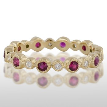 Ladies' Yellow Gold Ruby and Diamond Ring