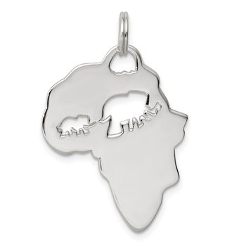 Sterling Silver Africa Continent with Elephant Cutout Pendant