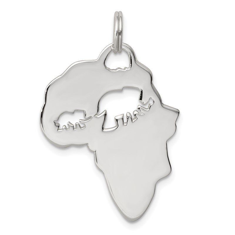 Quality Gold Sterling Silver Africa Continent with Elephant Cutout Pendant