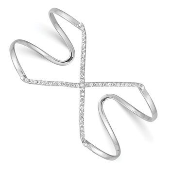 Sterling Silver Rhodium-plated CZ X Slip-on Cuff Bangle Bracelet