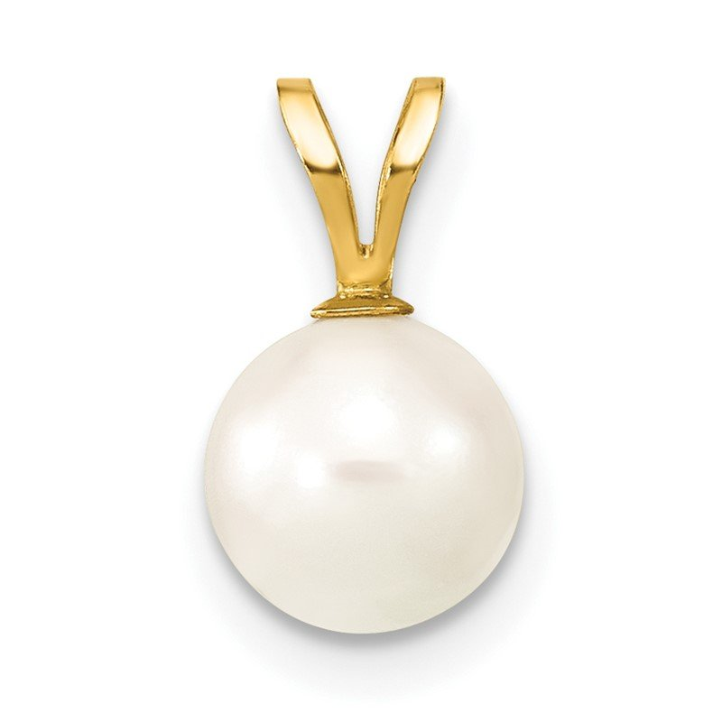 14k Gold 7-8mm Round White Saltwater Akoya Cultured Pearl Pendant