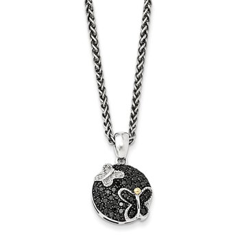 Sterling Silver w/14k & Black Rhodium Blk/White Diamond Necklace