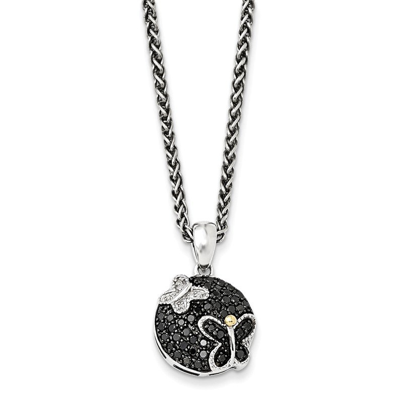 Shey Couture Sterling Silver w/14k & Black Rhodium Blk/White Diamond Necklace