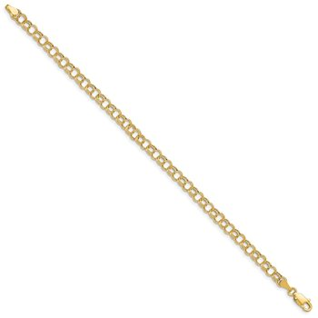 14k Hollow Double Link Charm Bracelet