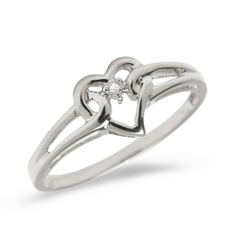Color Merchants 10K White Gold Diamond Heart Ring