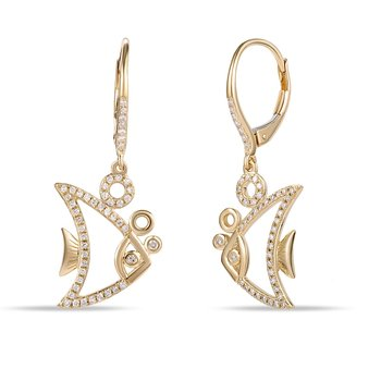 "Modern Design Diamond 0.32C Fish Earrings with french backs 3/4"" long by 1/2"" wide"